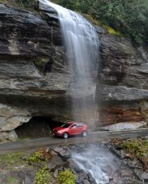 Bridal Veil Falls, Along NC Highway 28 between Franklin and Highlands, NC.