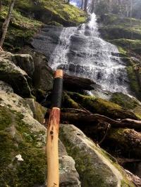 Hiking stick at the falls