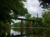 Railroad bridge and steam plant
