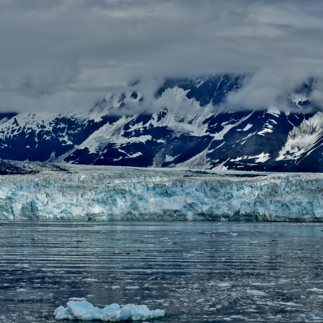 The Hubbard Glacier is 6 miles wide, about 200 feet high, and extends 67 miles into the valley behind it. Our ship stopped very close to the face and we spent about an hour there enjoying the views and sounds of the ice.