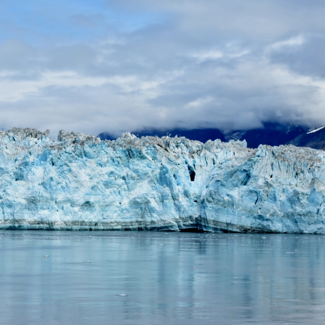 Close up of the Hubbard Glacier. I was mesmerized by the shades of blue and the patterns showing the many layers of ice pack.
