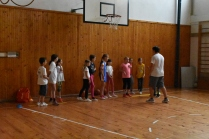 Lining up for some running drills during basketball.