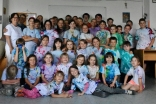 Wearing our tie-dye shirts on the final day.