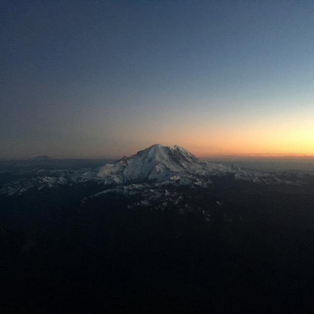 We arrived in Seattle at sunset.