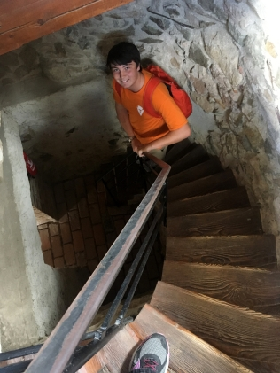 Hudson in the castle tower.