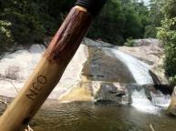 The cedar hiking stick at Tea Cups Falls
