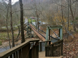 The swinging bridge signals the end of our hike.