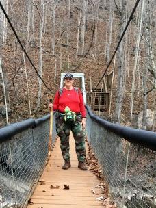 On the swinging bridge.