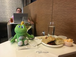 Enjoying our time in the Delta Sky Club, ATL.