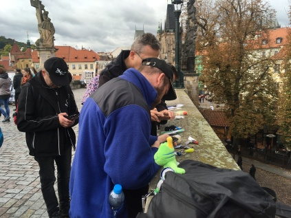 Logging travel bugs during the event in Prague.