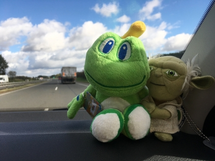 Signal cruising with his new buddy, Yoda.