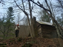 Rob at the primitive cabin.