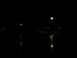 Moon rising over Lake Junaluska.